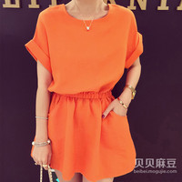 Thin Elastic Waist Mini Dress with Curl Sleeves