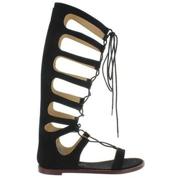 Chinese Laundry Galactic   Black Micro Suede Tall Gladiator Sandal