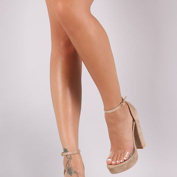Suede Lucite Band Chunky Platform Heel