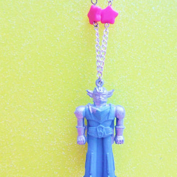 Blue Robot Toy Necklace - Vintage 1950s Toy Rare - Antique Toy Necklace - Tiny Toy Upcycled Necklace