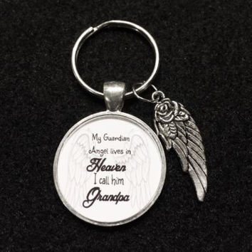 Grandpa In Heaven Memory Guardian Angel Wing Miss You Keychain