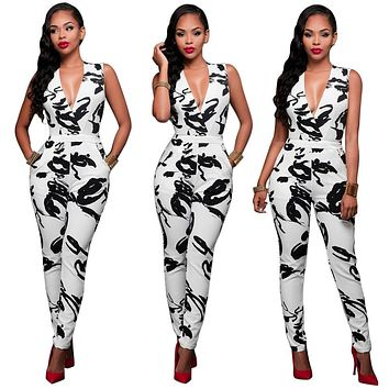 summer Rompers Women Jumpsuit Combinaison Femme Printed Bodysuit Sexy Slim Bandage White Sleeveless Bodycon Casual