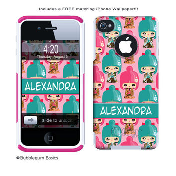 OTTERBOX COMMUTER iPhone 5 5S 5C 4/4S Case Custom Hot Pink Asian Geisha Girl Pattern Personalized Monogram