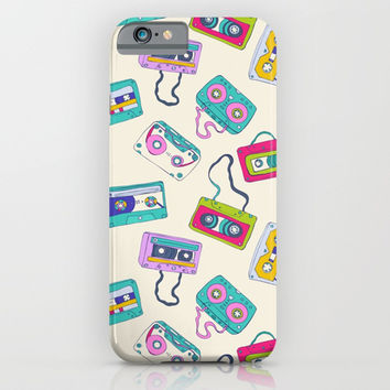 Vintage Cassette Tape Pattern iPhone & iPod Case by Smyrna