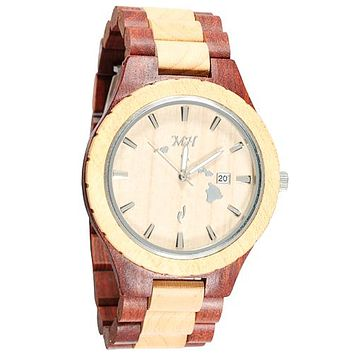 Red Sandalwood Maple Two Tone Wooden Watch Large Size Japan Movement