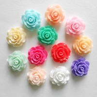 LOVEKITTY 5 pieces Rose Flower Flat back Resin Cabochons Kawaii Deco (assorted colors) 21mm