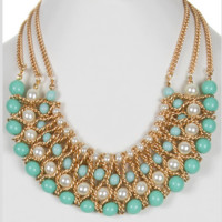 Elegant Mint Color Pearl Accent Layered Necklace Set