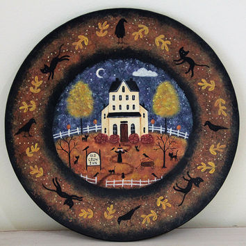 "Folk Art Halloween Wood Plate ""Old Crow Inn"" - READY TO SHIP - Haunted Saltbox House, Old Witch, Pumpkins, Black Cats, Moon, Fall Leaves"
