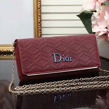 Dior Women Leather Crossbody Shoulder Bag Clutch Bag Satchel