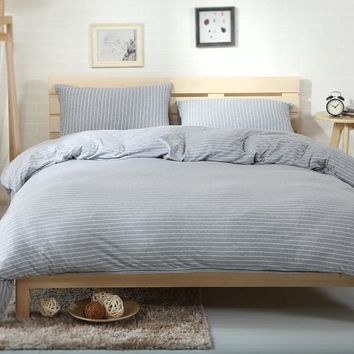 2018 White Lines Grey Duvet Cover Set Knit Cotton Bed Cover Twin Queen King Bedding Sets Flat/Fitted Sheet Pillowcases