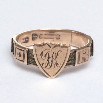 Victorian 9ct Rose Gold and Hair Mourning Ring