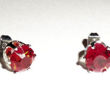 Red Stud Crystal Rhinestone Earrings