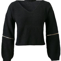 Halter Neck Ribbed Knit Cropped Sweater in Black or Army Green