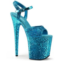 Aqua 8 Inch Heels Glitter Ankle Strap Sandal Stripper Shoes