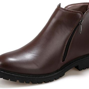 Mens  Genuine Split Leather Side Zipper Ankle Boots
