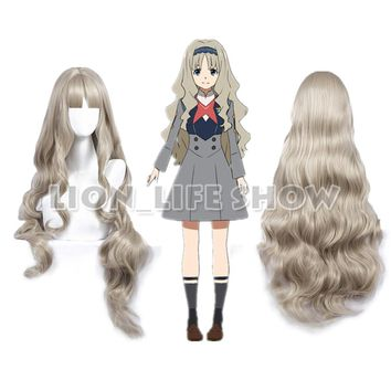 90cm DARLING in the FRANXX CODE:556 KOKORO Silver-White Long Wavy Bangs Cosplay Wig free cap