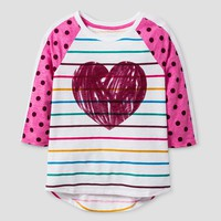 Girls' 3/4 Sleeve Heart Print Baseball T-Shirt - Cat & Jack™ White