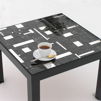 Black coffee table modern furniture with mirror pieces chic mosaic  OOAK