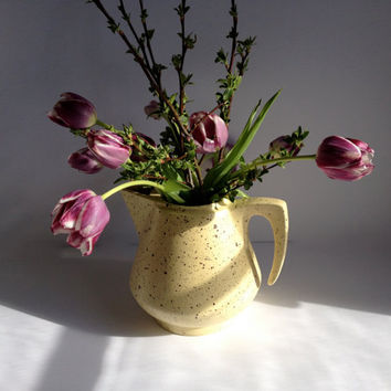 Yellow and Brown Splatter Glaze Ceramic Pitcher/Vase