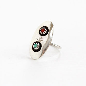 Vintage Sterling Silver Turquoise & Coral Ring- Size 6 Retro Southwestern Native American Style Large Statement Jewelry