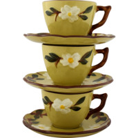 Vintage Stangl Pottery White Dogwood Cups and Saucers Set of Three
