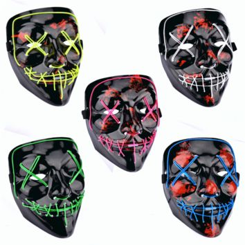 Halloween LED Mask Purge Masks Election Mascara Costume DJ Party Light Up Masks Glow In Dark 2018 Movie Cosplay Payday Mask