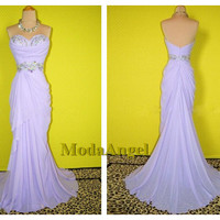 Purple Prom Dress, Strapless Pleating Chiffon Corsets Prom Dress / Graduation Dress