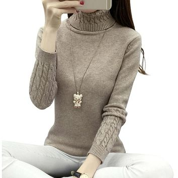 Thick Warm Turtleneck  Pullover Knit Long Sleeve Cashmere Sweater