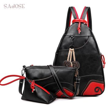 SAJOSE NEW Fashion Vintage Leaf Stitching Shoulder Bag Backpack