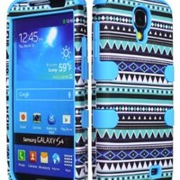 Galaxy S4 Phone Case, Bastex Heavy Duty Hybrid Sky Blue Silicone Cover Blue Tribal Aztec Hard Shell Case for Samsung Galaxy S4 i9502