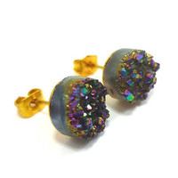 Druzy Metallic Rainbow Flame MOON Stud Earrings n.8 by AstralEYE