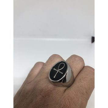 Vintage Stainless Steel Gothic Egyptian Ankh Mens Ring