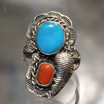 Turquoise and Coral Ring Sterling Silver Native American Southwestern Navajo Fancy Feather Tribe Tribal Hand Crafted Artisan Jewelry 1980s
