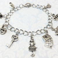 Alice in Wonderland Inspired Charm Bracelet, through the looking glass