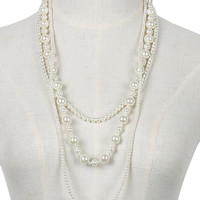 White Beaded Faux Pearl Multilayer Necklace