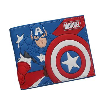 Anime Cartoon Wallets Cute CAPTAIN AMERICA Wallet Bifold For Teenager Boy Girl Star Wars Deadpool Pokemon Wallets