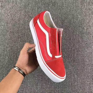 Vans Fashion Casual Trending Classic Canvas Old Skool Flats Sneakers Sport Shoes Red G