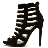 Black Peep Toe Strappy Caged Bootie