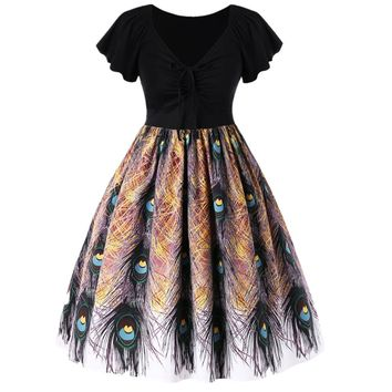 ZAFUL Plus Size Peacock Tail Print Swing Vintage Dress Elegance Short Sleeves V Neck High Waist Dress Party Feminino Vestidos