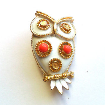 Vintage Enamel Owl Brooch Jonette Jewelry JJ Signed Marked White Coral Pink Orange Cabochon Unusual Gold Tone Metal