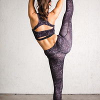 Working For It Marble Stone Print Activewear Bra (Black)