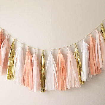 Peach, Blush and Gold Tassel Garland Banner - Mothers Day, Spring Decor, Party Decor, Birthday Party, Weddings, Baby Shower, & Photo Prop