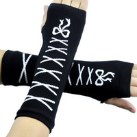 White Lace Bow Gloves Gothic Stitch Arm Warmers