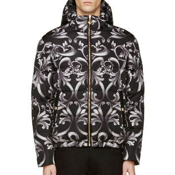 Versace Black Baroque Puffer Jacket