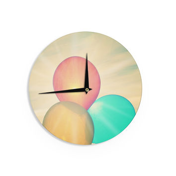 "Robin Dickinson ""Balloons"" Tan Clouds Wall Clock"