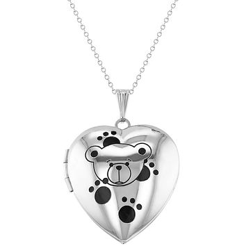 Teddy Bear Heart Photo Locket for Girls Pendant Necklace 16""