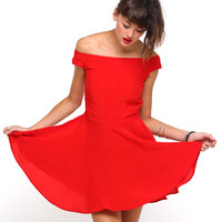 Motel Jemima Off The Shoulder Dress in Silky Red