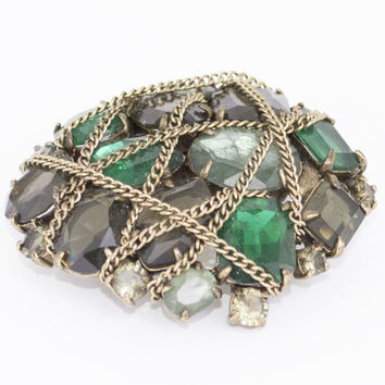 Brooch / Pendant With Multi Green Stones