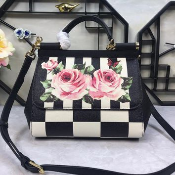 Dolce & Gabbana Womens Floral Printed Small Sicily Bag #273