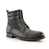New Men's Dual Fabric Calf-High Tall Riding Combat Dress Boots